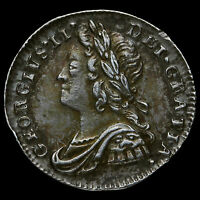 1740 GEORGE II EARLY MILLED SILVER MAUNDY PENNY