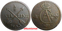 SWEDEN COPPER 1803 1/2 SKILLING OVERSTRUCK ON 1 ORE 1769 S.M. EARLY  DATE