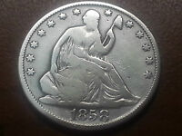 1858 0 SEATED LIBERTY HALF DOLLAR COIN GOOD CONDITION NOT GRADED
