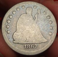 1867 SEATED LIBERTY QUARTER DOLLAR TOUGH DATE 25C
