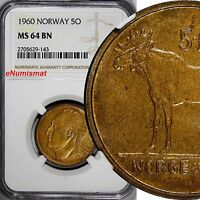NORWAY OLAV V BRONZE 1960 5 RE NGC MS64 BN TOP GRADED BY NGC KM 405
