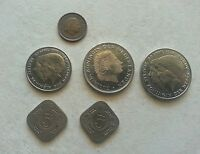 HOLLAND'S LOT OF 6 COLLETABLE COINS. 1CENT 1952 TWO 5CENTS1939 1923