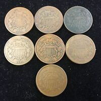 LOT OF 7 TWO CENT PIECES X3 1864 X3 1865 X1 1866 US COPPER COINS 2C 4722