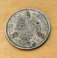 1932 GREAT BRITAIN 3 PENCE SILVER