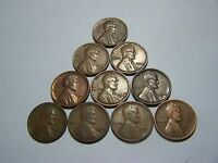 10 LINCOLN WHEATS 1926 1927 D 1928 S 1929 1930 D 1936 1937 S 1939 1944 D 1958