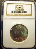 1968 D KENNEDY HALF. BRILLIANT UNCIRCULATED. NGC CERTIFIED MS65 SKU2