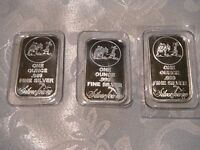 SILVER TOWNE 1 OZ. BARS .999 FINE PURE SILVER SEALED LOT OF 3