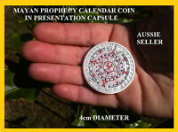 1 OZ SILVER AZTEC MAYAN LARGE COIN  CAPSULPE PROPHECY CALENDAR SILVER CLAD 4CM