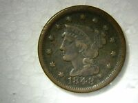 1848 US LARGE CENT BRAIDED HAIR COIN