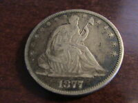 1877 P SEATED LIBERTY HALF DOLLAR     FULL DATE FULL RIMS WEAK LIBERTY  H321