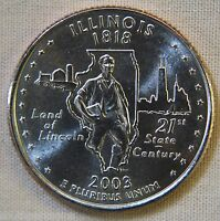 2003 D UNCIRCULATED ILLINOIS STATEHOOD QUARTER   SINGLE