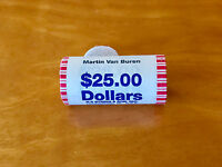 MARTIN VAN BUREN 2008 $1 BU ROLL OF 25 PRESIDENTIAL COIN SET IN N F STRING WRAP