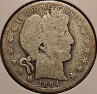 BARBER HALF   1894   HISTORIC SILVER   $1 UNLIMITED SHIPPING