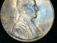 1998D LINCOLN CENT WITH DIE CLASH ON THE OBVERSE SIDE