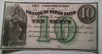 CORPORATION OF VILLAGE OF GLENS FALLS 10C NOTE FROM1860S NEW IN AU/UNC