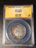 1879 SEATED LIBERTY HALF DOLLAR; ANACS AU58 DETAILS; CLEANED