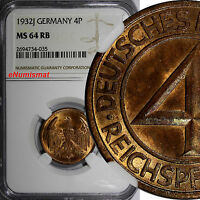 GERMANY WEIMAR REPUBLIC 1932 J 4 REICHSPFENNIG NGC MS64 RB TOP GRADED KM 75