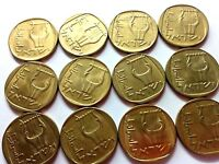 A LOT OF 12 VINTAGE ISRAELI  COINS.25 AGOROT COINS. STARTING 1960 COINS.