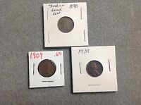 1890 INDIAN HEAD CENT/PENNY 1909 &1939 WHEAT PENNY