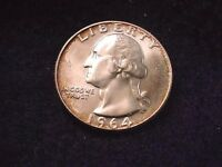 1964 D WASHINGTON QUARTER NICE TONED BU COIN  7