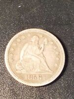1856 O SEATED LIBERTY QUARTER; LY FINE CONDITION; LIGHTLY SCRATCHED