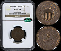 USA 2 CENTS 1864 LARGE MOTTO NGC MINT STATE 64BN CAC PREMIUM QUALITY