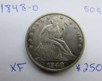 XF  1848 O SEATED LIBERTY HALF DOLLAR   TOUGH NEW ORLEANS MINT