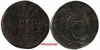 GERMAN STATES BRANDENBURG BAYREUTH COPPER 1730 1 HELLER  1 YEAR TYPE KM170