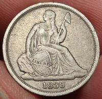 1838 O SEATED LIBERTY DIME BETTER DATE NEW ORLEANS MINT 10C