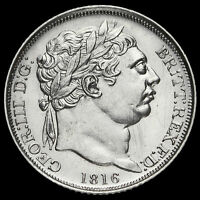1816 GEORGE III MILLED SILVER SIXPENCE, AU