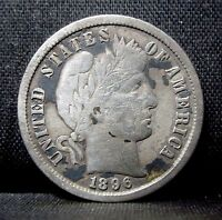 1896 S BARBER DIME  FINE F   NOW 10C SILVER  DATE F13 TRUSTED