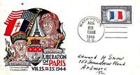 WORLD WAR II PATRIOTIC COVER LIBERATION OF PARIS STAEHLE/FLUEGEL CACHET M251