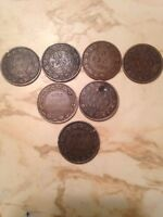 CANADA LARGE CENT LOT OF 7 COINS 3 1859,,,1881H 1893,1909,1920 AWESOME