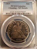 1869  50C PCGS GENUINE CLEANING  XF DETAILS