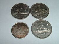 CANADA GEORGE V1 10 CENT PLUS X 3 FIVE CENT ALL DATES   1940 10 CENT IS SILVER