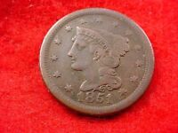 1851 BRAIDED HAIR LARGE CENT FINE BROWN COIN      260