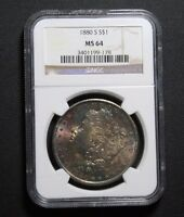 1880 S MORGAN SILVER DOLLAR COLOR TONING TONED NGC MS64