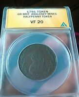 1791 HALF PENNY DRUID ANGLESEY MINES CONDER TOKEN COLONIAL COIN ANACS VF 20