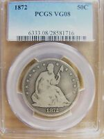 1872 SEATED LIBERTY HALF DOLLAR PCGS VG 08 CERT 28581716