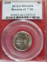 1939 JEFFERSON NICKEL REVERSE OF 1940 PCGS MS 66 FS CERT 11307312