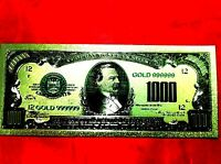 $1000 BANKNOTE USA AMERICA  GOLD COLOR COLOURED DOLLAR BILL 24KT COLLECTABLE