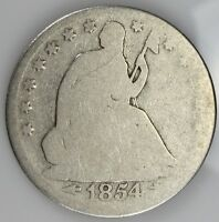 1854 SEATED LIBERTY HALF DOLLAR SILVER 50 CENTS 825