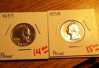 1957 AND 58 PROOF WASHINGTON QUARTER SET