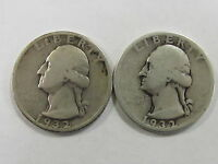 LOT OF 2   1932 P 90 SILVER WASHINGTON QUARTERS   FIRST YEAR OF ISSUE