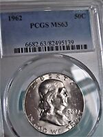 1962  FRANKLIN HALF DOLLAR PCGS MS63  BRIGHT WHITE LUSTER