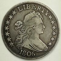 1806 U.S. DRAPED BUST HALF DOLLAR SILVER COIN DOUBLED