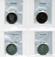 1895, 1896, 1897 & 1898 CIRCULATED LIBERTY NICKEL LOT OF 4 COINS