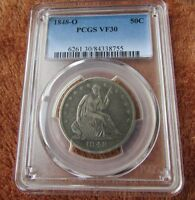 1848 O 50C PCGS VF30 SEATED LIBERTY HALF DOLLAR   TOUGH NEW ORLEANS MINT