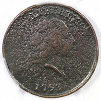 1793 S 4 R 3 PCGS F DETAILS PERIODS CHAIN LARGE CENT COIN 1C