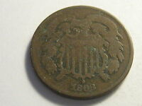 1868 TWO CENT PIECE VG